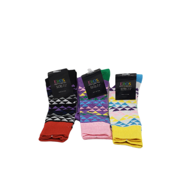 Building block socks yellow pink red